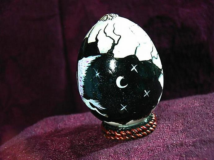 Hand painted egg- 'Other World Egg- Pegasus in the Night- on a permanent stand