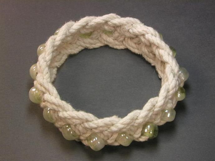 white cotton turks head knot bracelet with green beads rope jewelry beaded