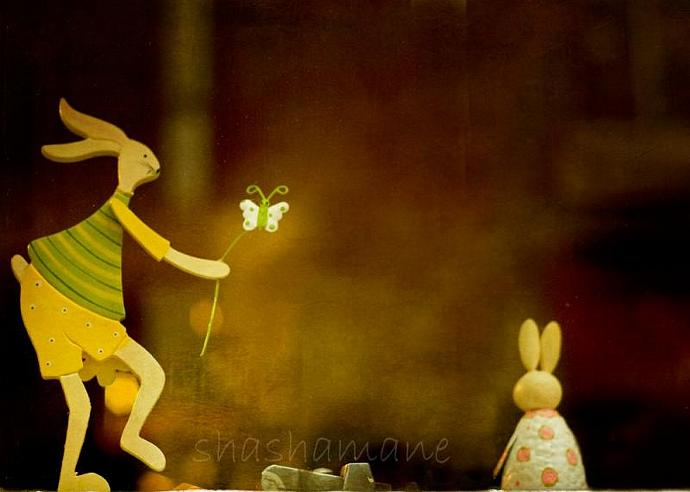 "Bunny, I shrunk the kids  --  Romantic rabbits 5 x 7"" Fine Art Photography"