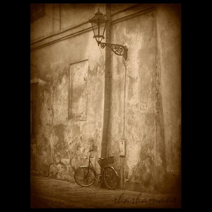 """Timewatch - Old bicycle and streetlamp vintage scene 7 x 5"""" fine art photography"""