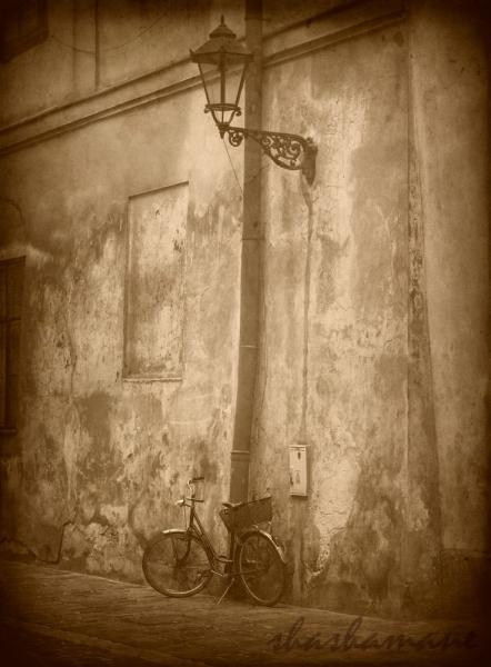 "Timewatch - Old bicycle and streetlamp vintage scene 7 x 5"" fine art photography"