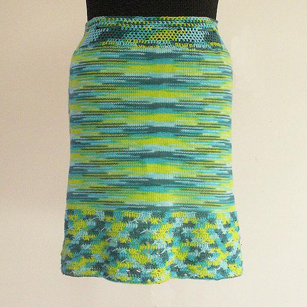 Knitted Skirt - Multi-Greens - Size Small