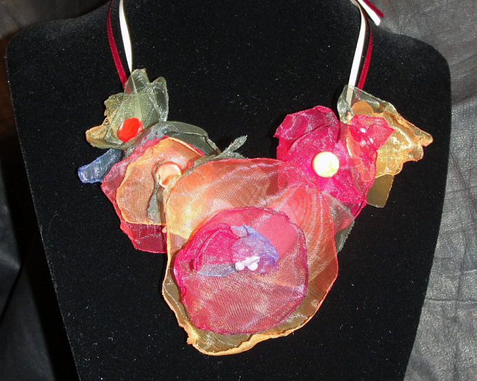 Spring Flower Organza Statement Necklace