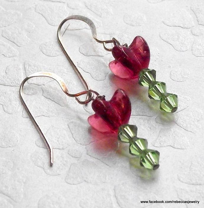Spring Flower Earrings ~ Red/Purpleish