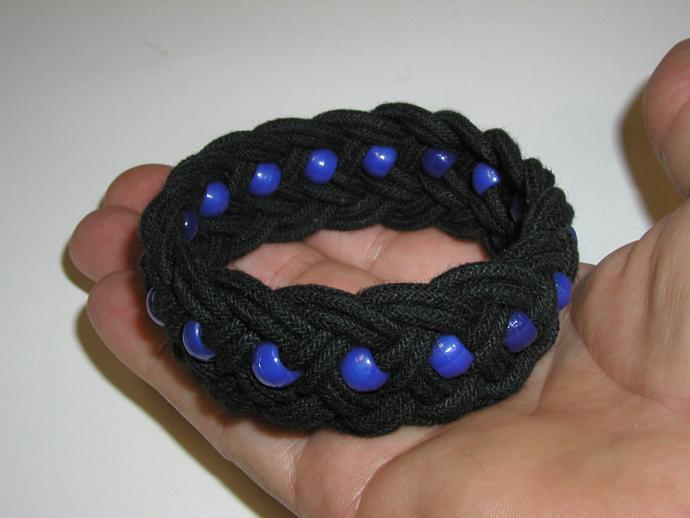 blue beaded turks head knot bracelet MEDIUM 347