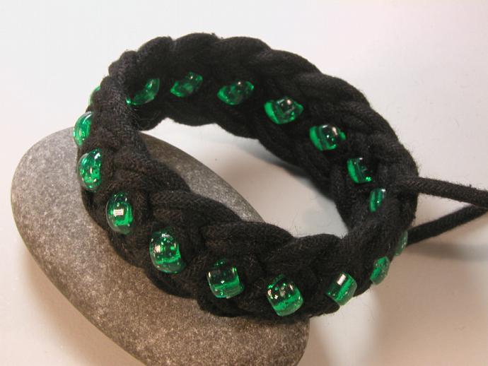 black rope bracelet with green beads turks head knot bracelet knotted bracelet