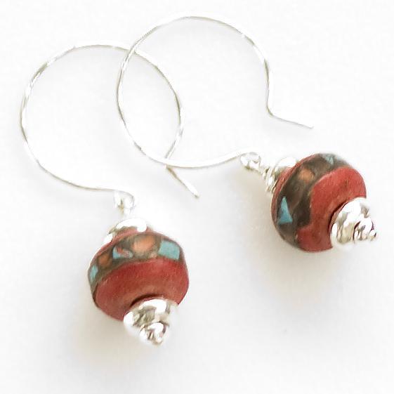 Red Tibetan mala, sterling and Bali silver earrings
