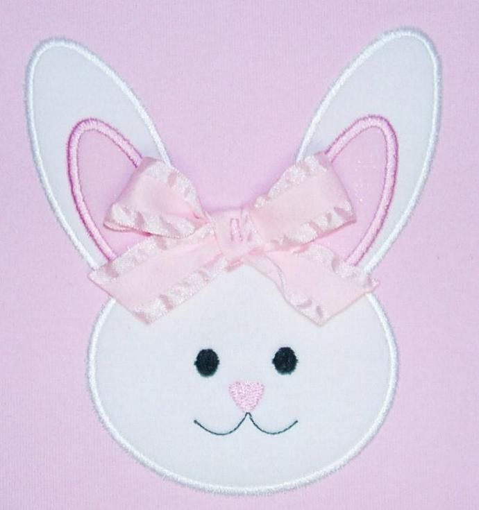Bunny Face Applique Machine Embroidery Design