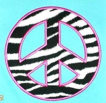 Peace Sign Applique Machine Embroidery Design