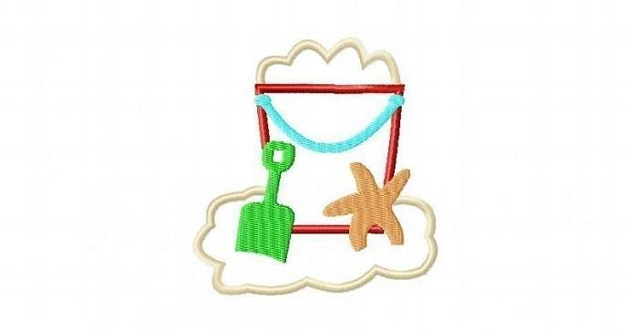 Sand Bucket Scene Applique Machine Embroidery Design