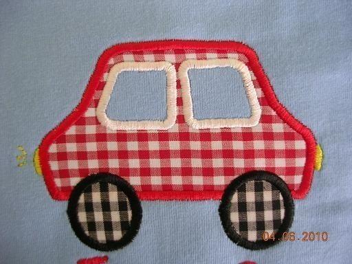 Simple Car Applique Machine Embroidery Design