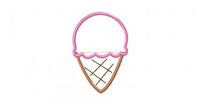 IceCream Cone 1 Scoop Applique Machine Embroidery Design
