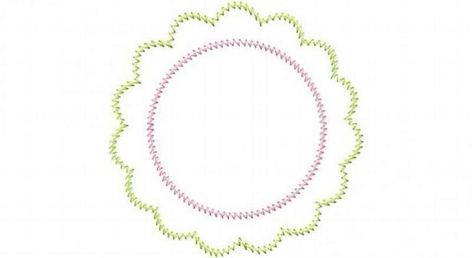 Scalloped Round Patch Applique Machine Embroidery Design