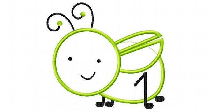 Baby Grasshopper Applique Machine Embroidery Design