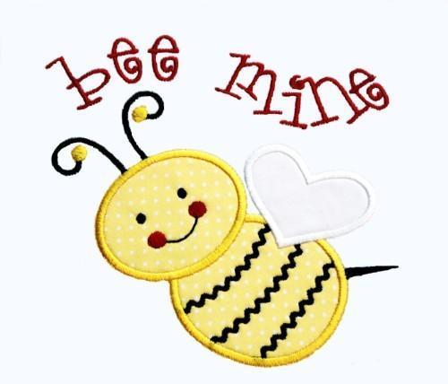 Bee Mine Applique Machine Embroidery Design