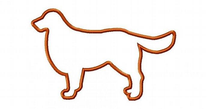 Golden Retriever Applique Machine Embroidery Design