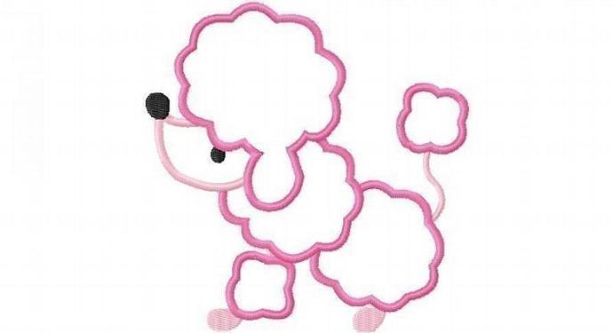 Little Poodle Dog Applique Machine Embroidery Design