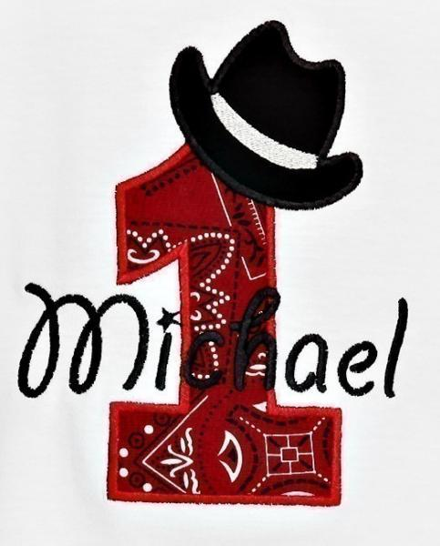 Cowboy Hat Birthday Numbers Font Applique Machine Embroidery Design