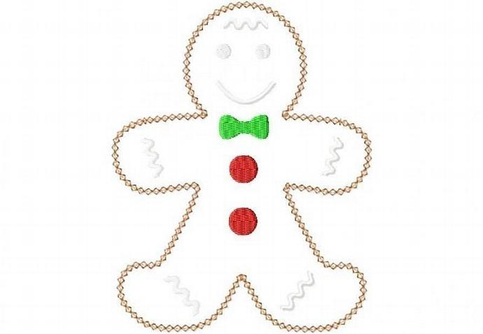 Gingerbread Man Applique Machine Embroidery design