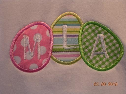 3 Easter eggs Applique Machine Embroidery Design