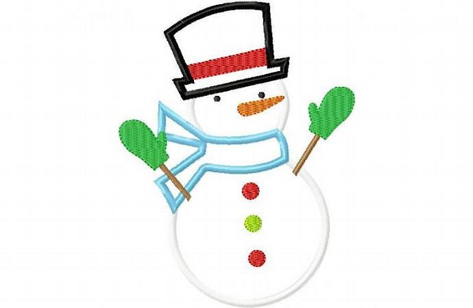 Snowman Tophat Applique Machine Embroidery Design
