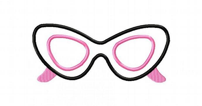 Sunglasses CAT EYE Applique Machine Embroidery Design