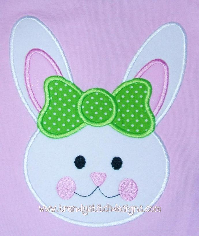 Bunny Face GIRL hairbow Applique Machine Embroidery Design