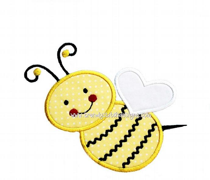 Cute Bumblebee Applique Machine Embroidery Design