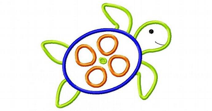 Sea Turtle Applique Machine Embroidery Design