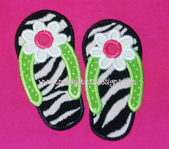 Flip Flop FLOWER Applique Machine Embroidery Design