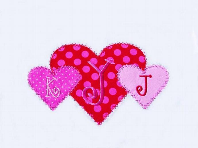 Heart Trio Applique Machine Embroidery Design