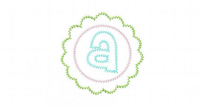 Scalloped Round Patch Font Applique Machine Embroidery Design