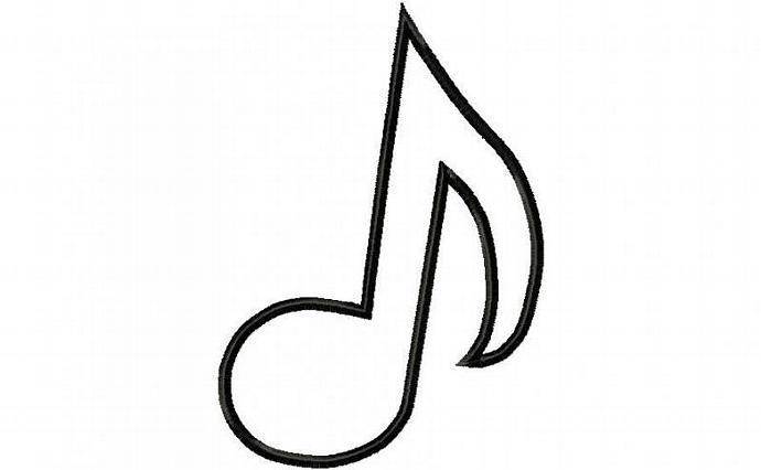 Music Note 1 Applique Machine Embroidery Design