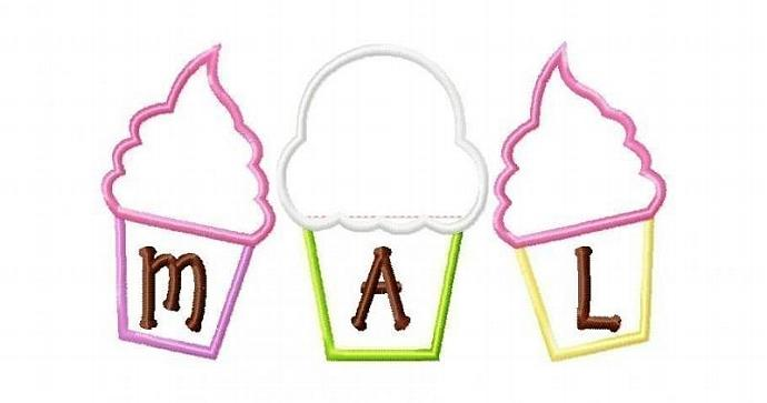 Cupcake Trio Applique Machine Embroidery Design