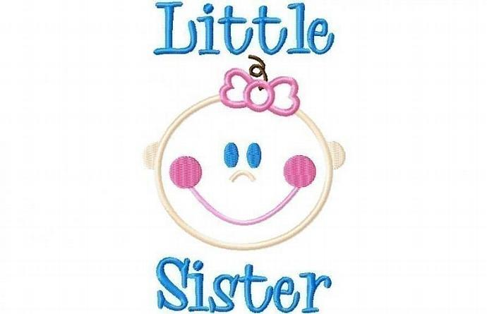 Baby Girl Little Sister Applique Machine Embroidery Design