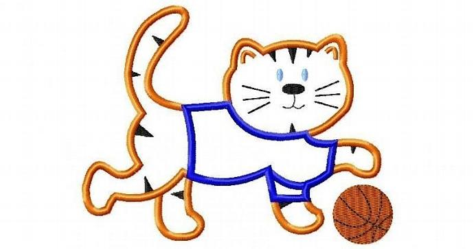 Tiger with Basketball Applique Machine Embroidery Design