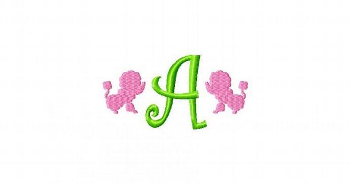 Poodle Dog Font Machine Embroidery Design 4x4 hoop
