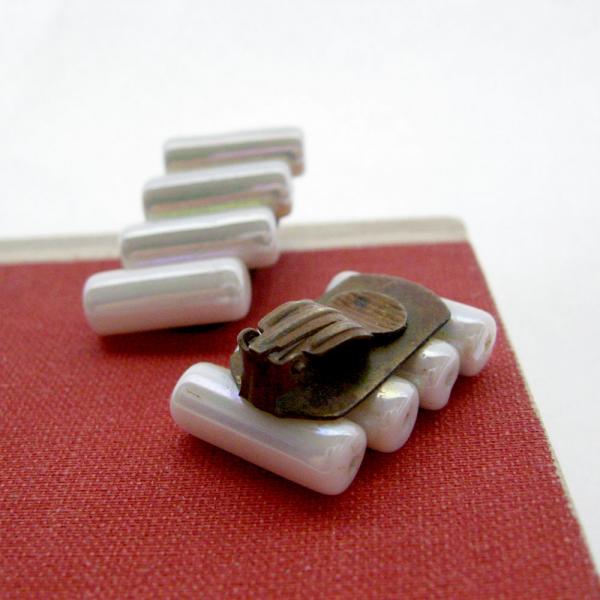 White Iridescent Tube Bead Clip Earrings Modernist Minimalist Architectural