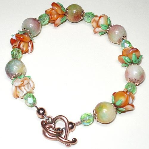 Candy Jade & Orange Rose Lampwork Copper Bracelet