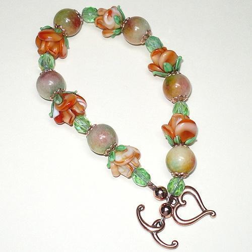Candy Jade & Orange Rose Lampwork Copper Bracelet