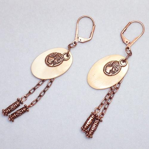 Antique Copper & Melon Shell Roman Coin Charm Earrings