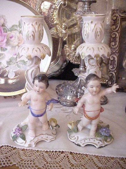 Antique Dresden Cherub Candlesticks