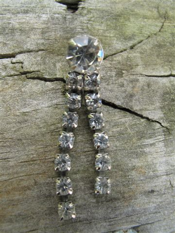 Vintage Dangle Rhinestone Clip-on Earrings