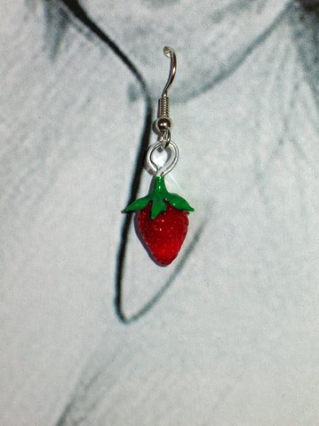 Strawberry earrings - glass figurine jewelry