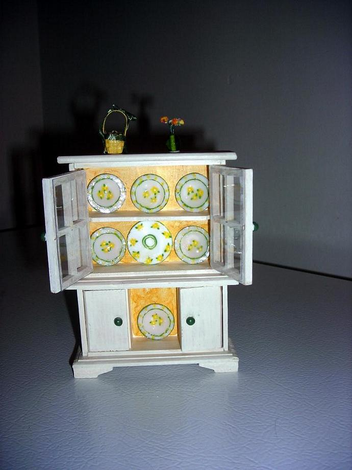 Spring Themed China Hutch in One Inch Dollhouse Scale