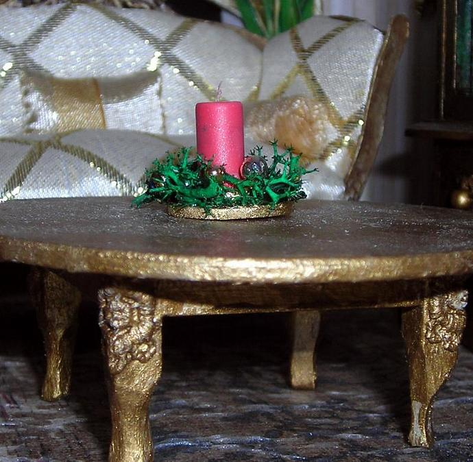 Christmas Candle Arrangement in One Inch Dollhouse Scale