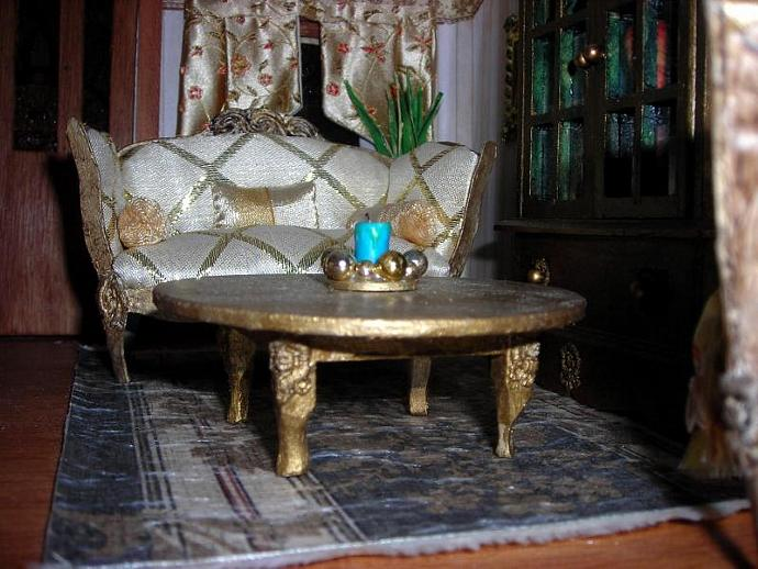 Blue and Gold Candle Arrangement in One Inch Dollhouse Scale