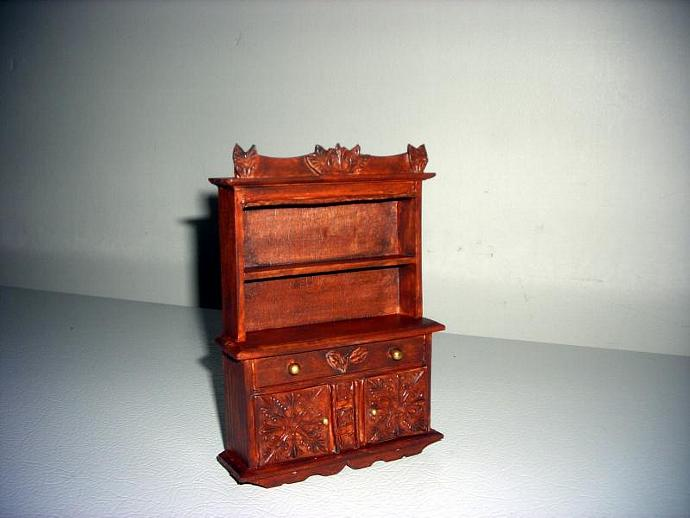 Wood hutch with faux carving in one inch dollhouse scale