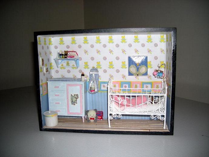 Nursery Room Box with Heidi Ott Baby in One Inch Dollhouse Scale