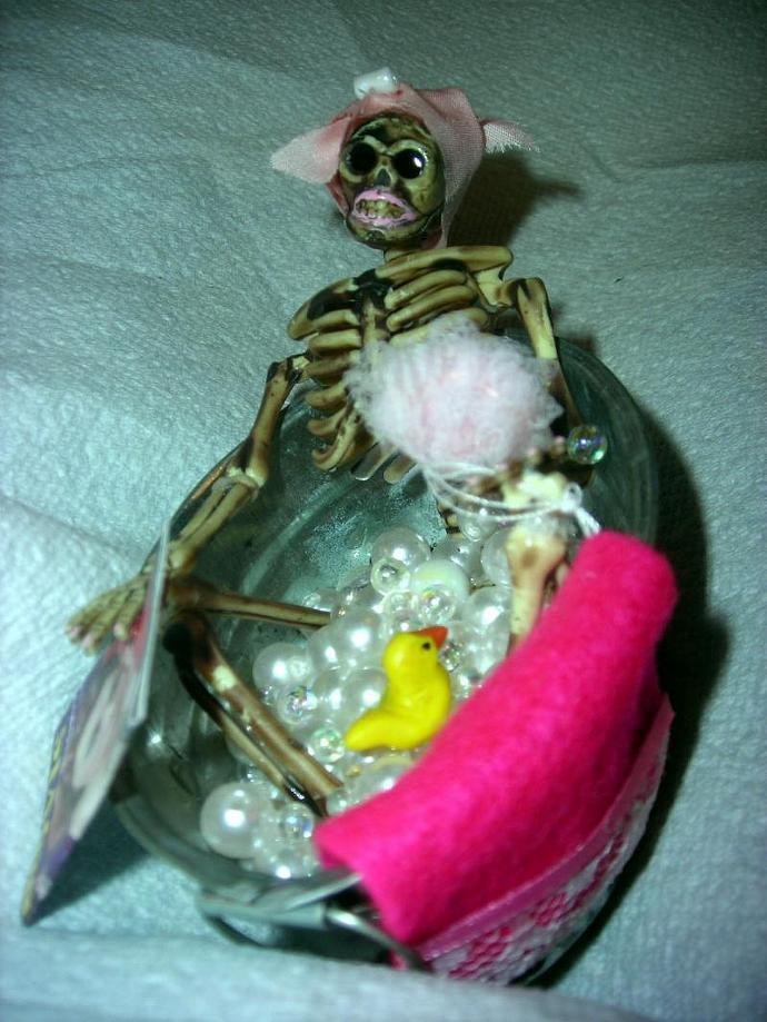 Skeleton in a Bubble Bath in One Inch Dollhouse Scale